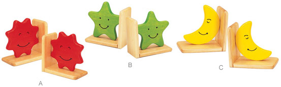 Sun Children's Wood Bookends