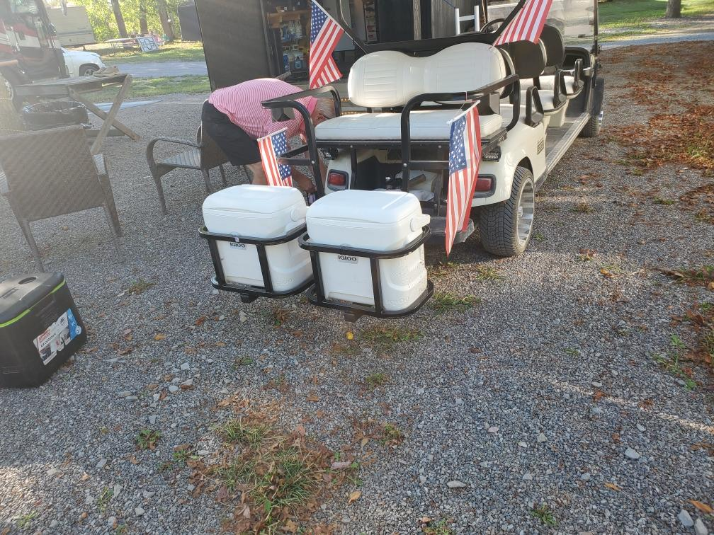 Double Hitch Cooler Carrier with coolers