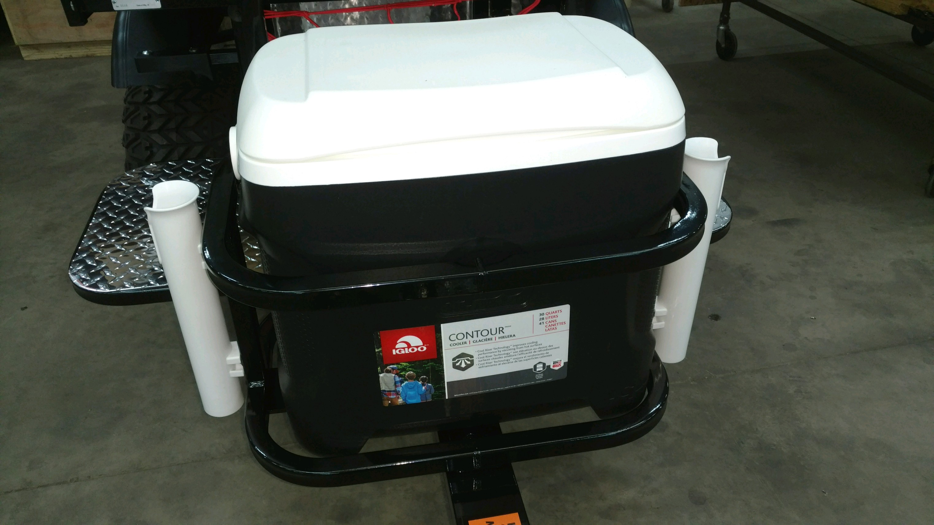Igloo cooler carrier w/ fishing rod holders