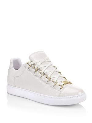 BALENCIAGA CRINKLED LEATHER LACE UP SNEAKERS WOMEN