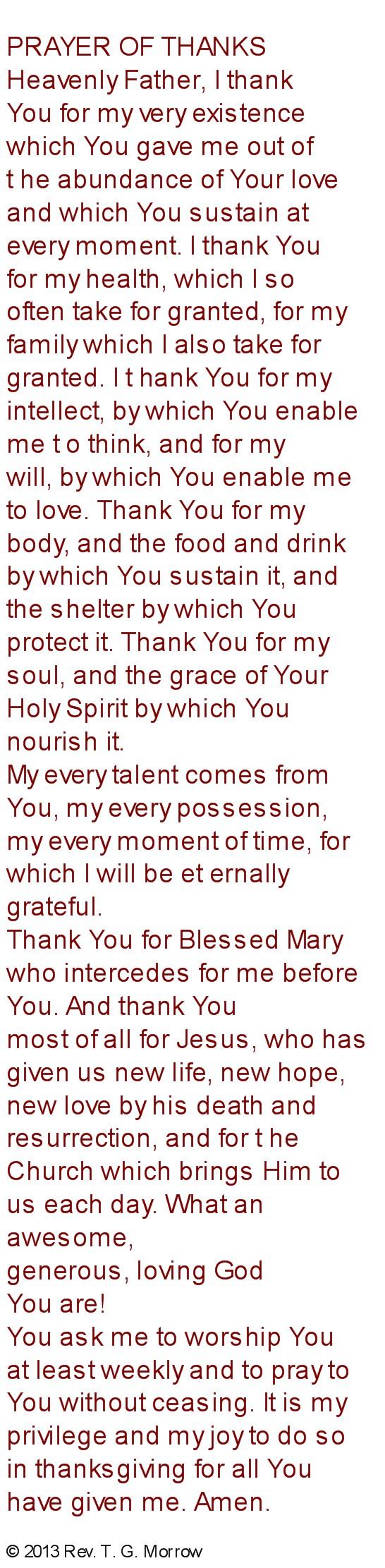 Prayer of Thanks Engl./Spanish