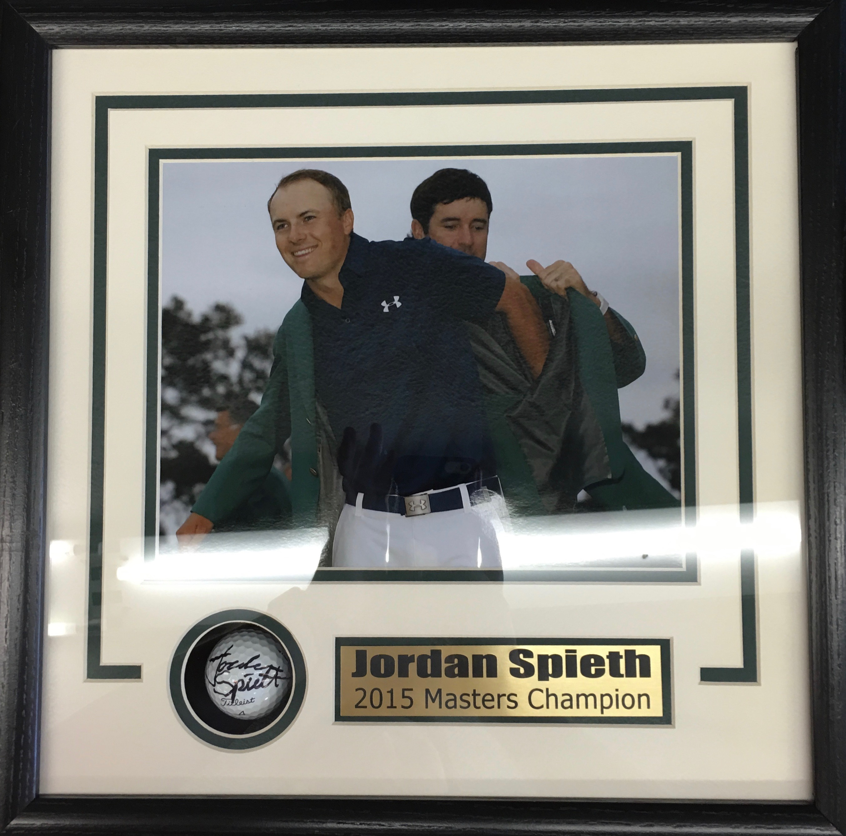 Jordan Speith signed golf ball shadowbox