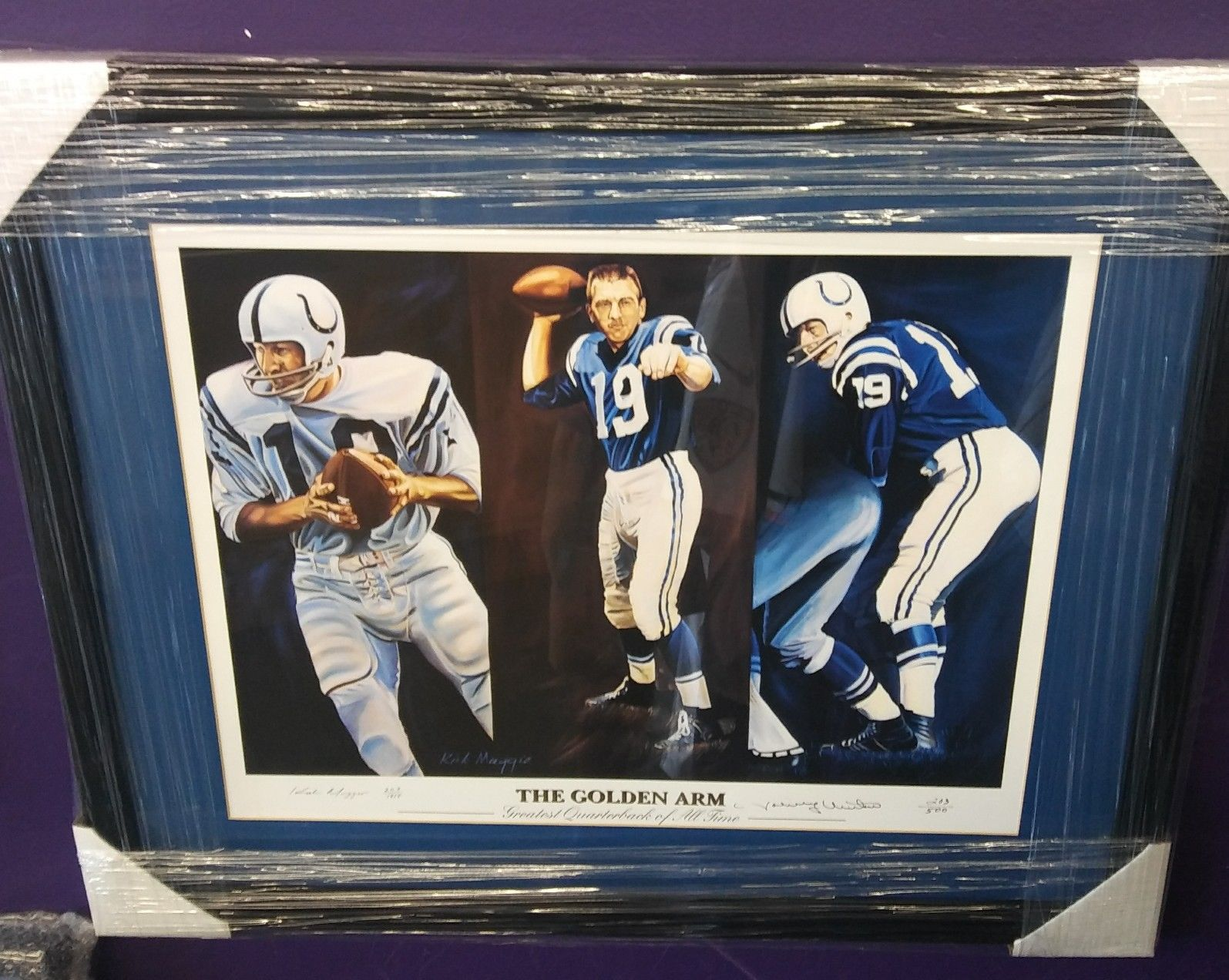 Johnny Unitas signed lithograph by Kirk Maggio