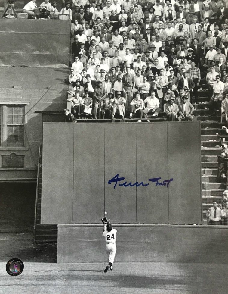 "Willie Mays signed 8x10 ""The Catch"" Say Hey Holo"