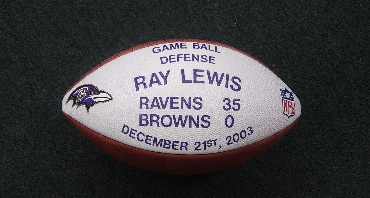 "RAY LEWIS GAME BALL Used Official NFL ""Duke"" Football 12-21-2003"