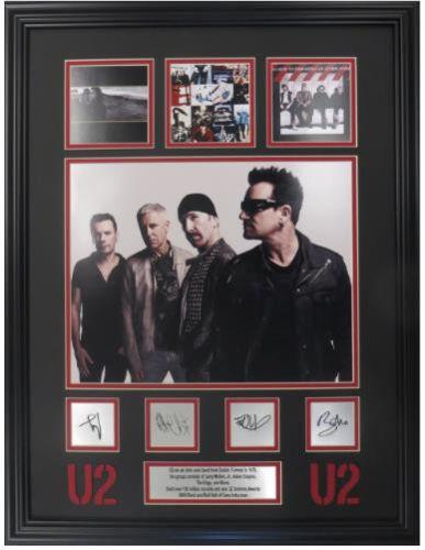 U2 11x14 w/ laser engraved signatures