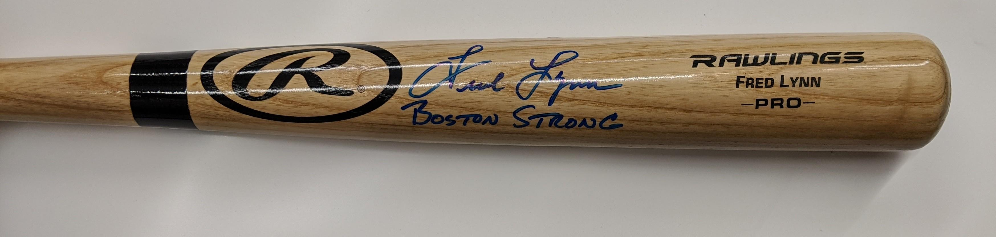 "FRED LYNN SIGNED RALWINGS PRO BAT ""BOSTON STRONG"""
