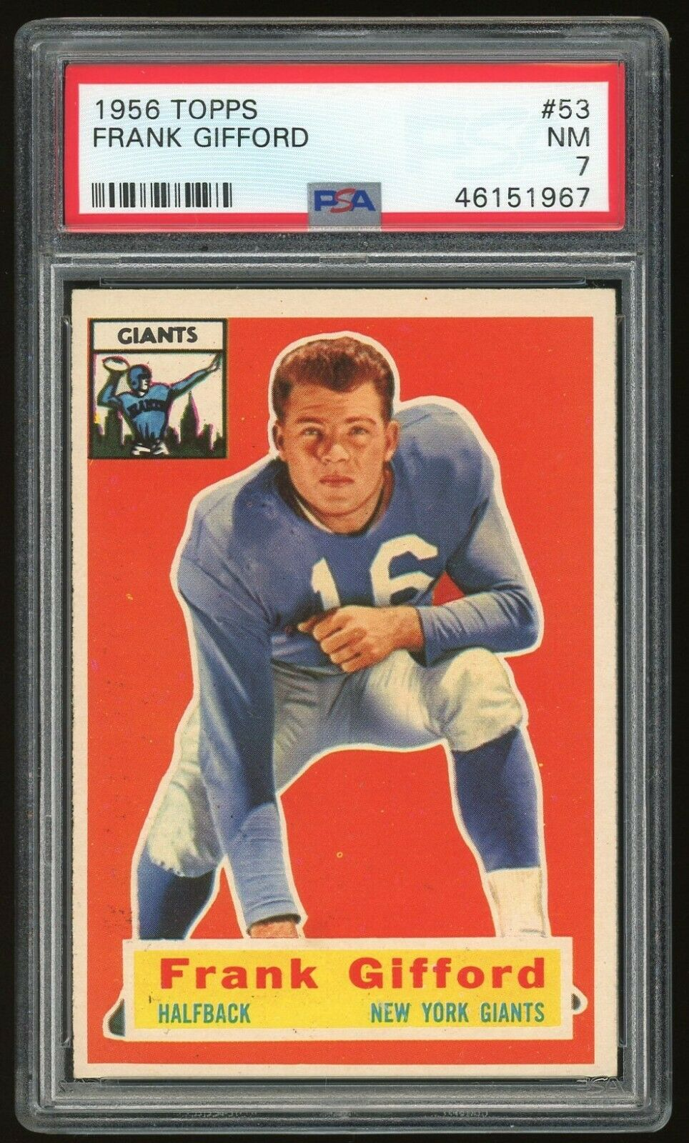 1956 TOPPS FRANK GIFFORD ROOKIE CARD PSA 7