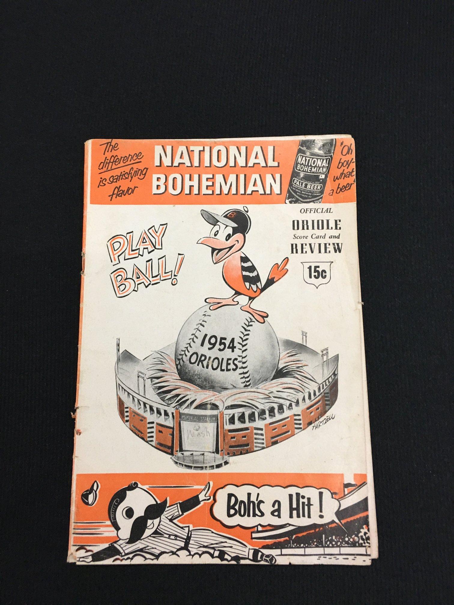 1954 game Orioles program 1st season