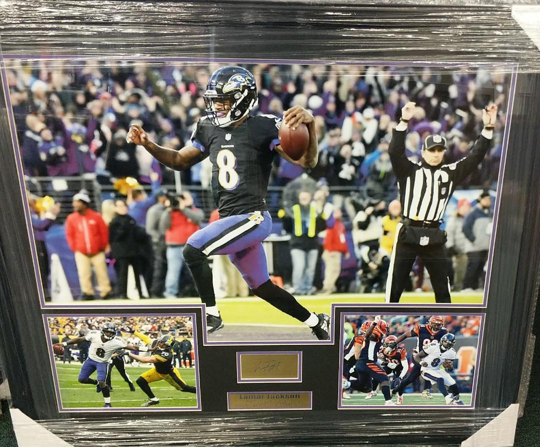 Lamar Jackson 31x35 Collage w/ laser engraved signature