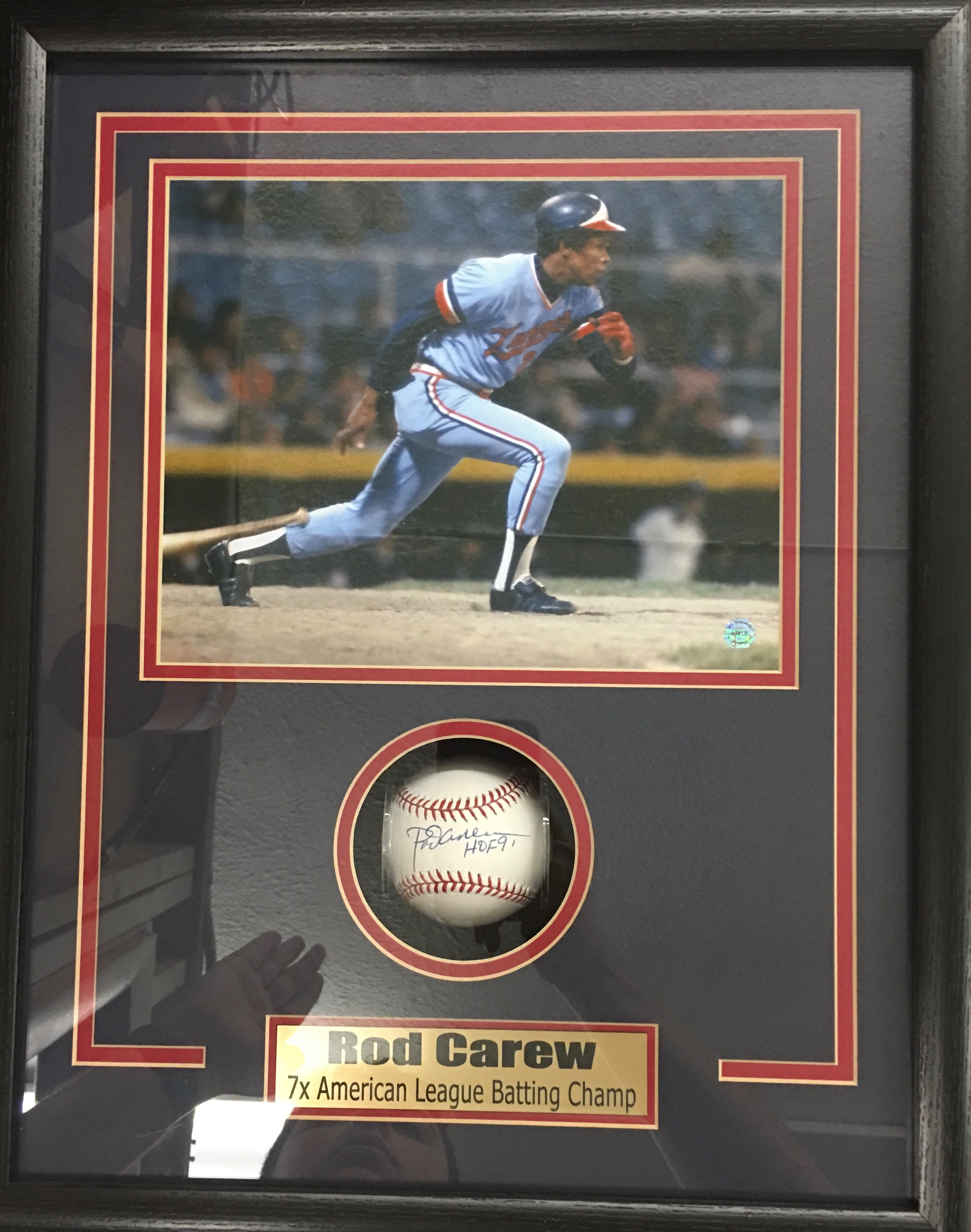 Rod Carew signed baseball shadowbox