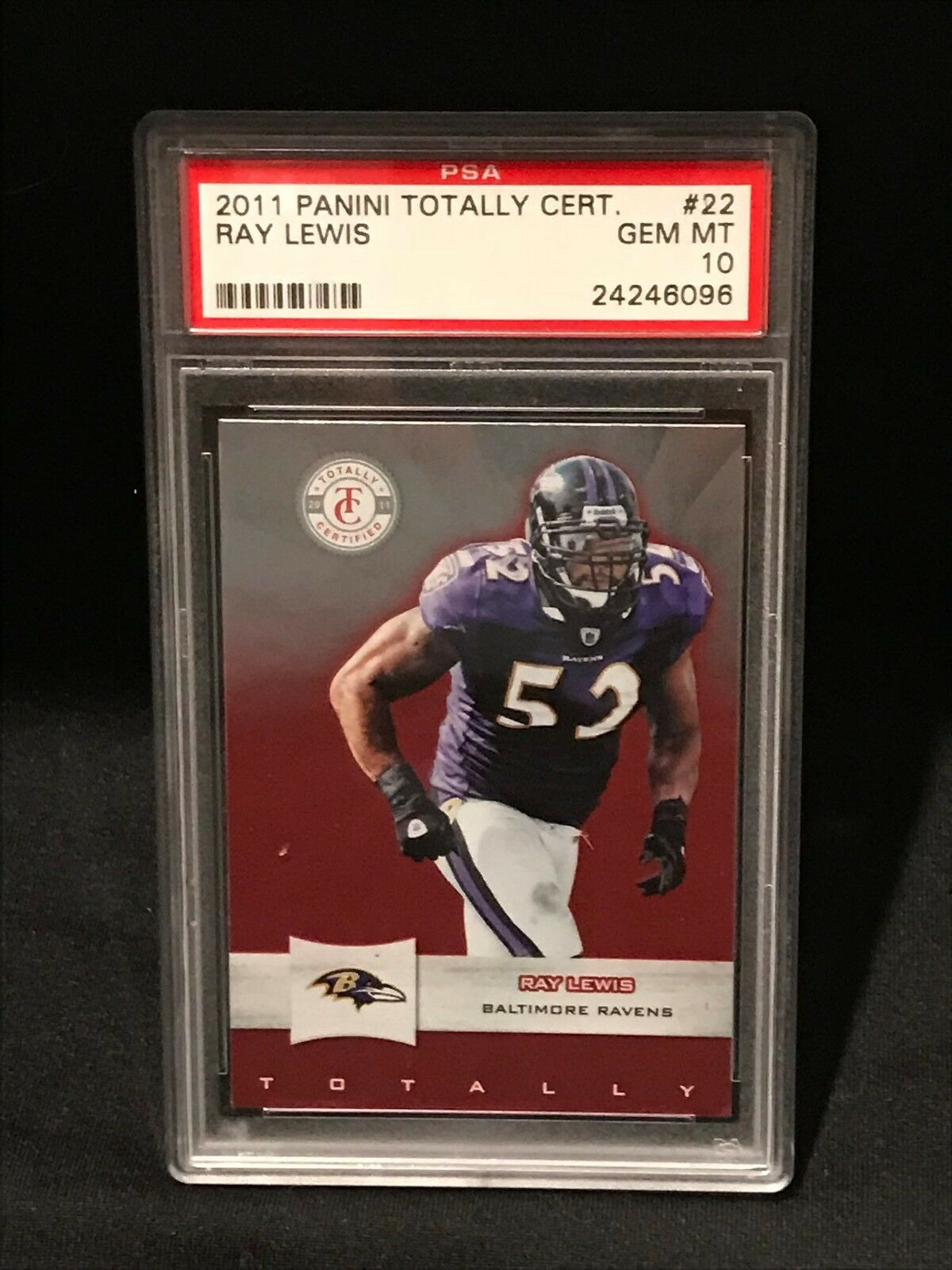 2011 PANINI TOTALLY CERTIFIED RAY LEWIS PSA 10