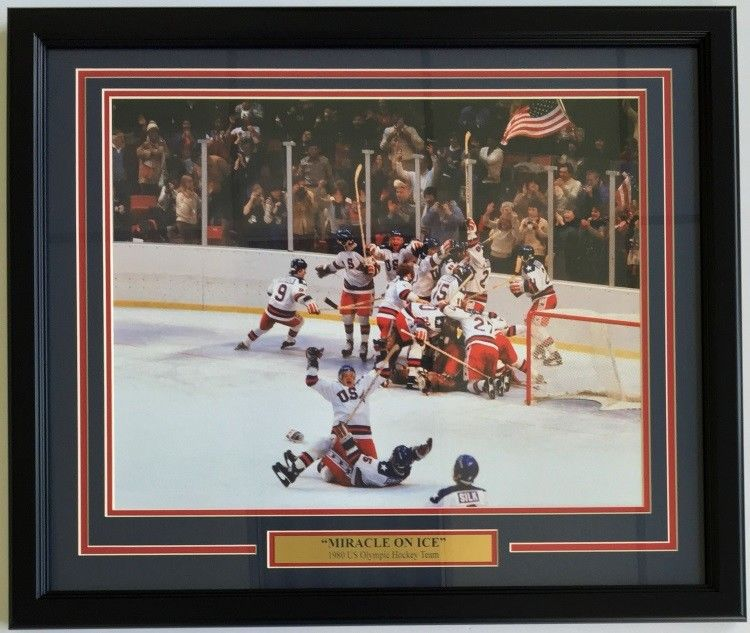 1980 USA Olympic Hockey Miracle on Ice Framed 16x20 Celebration Photo
