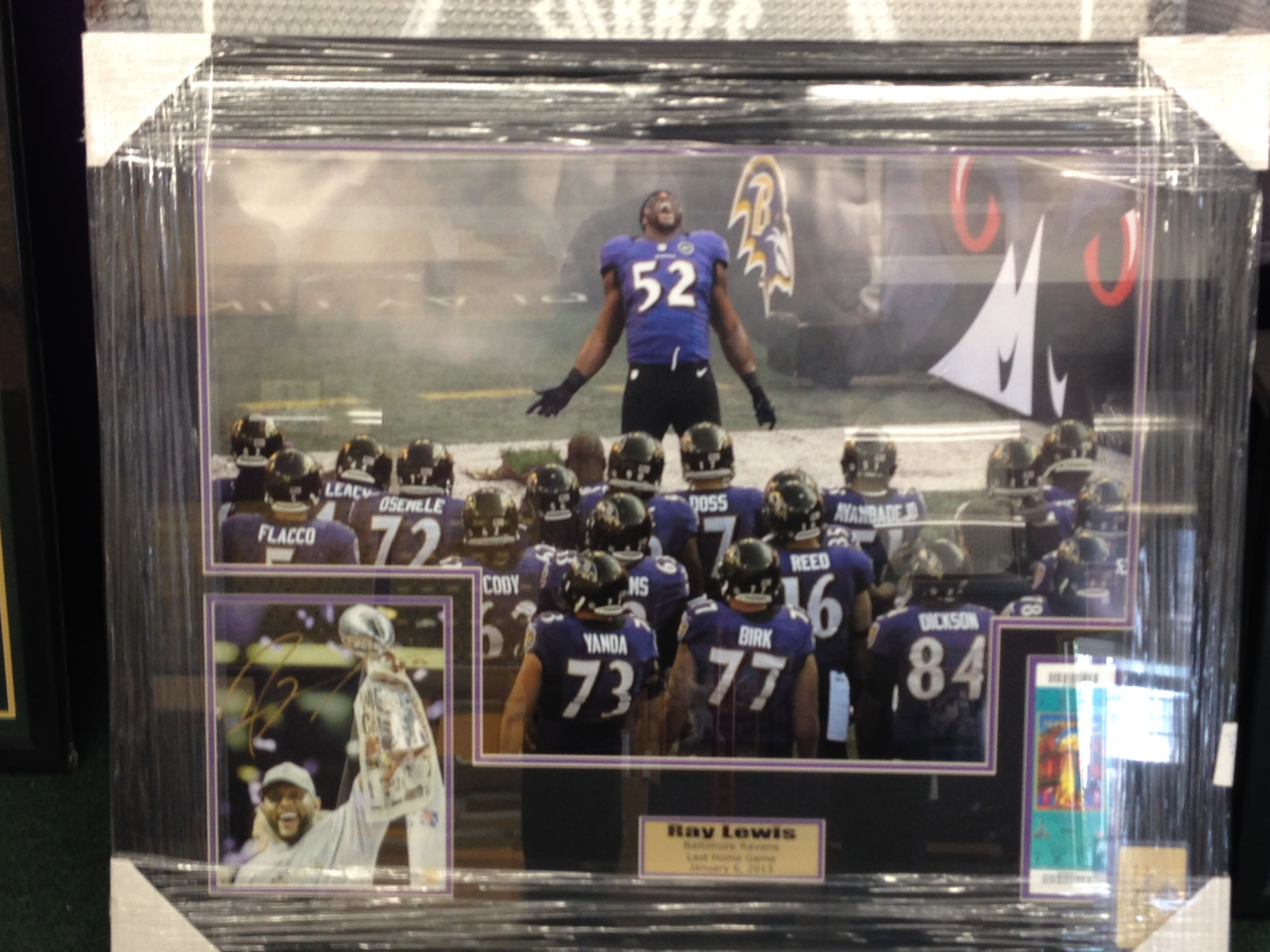"Ray Lewis ""The Last Dance"" 20x30 w/signed 8x10 and final game replica ticket"
