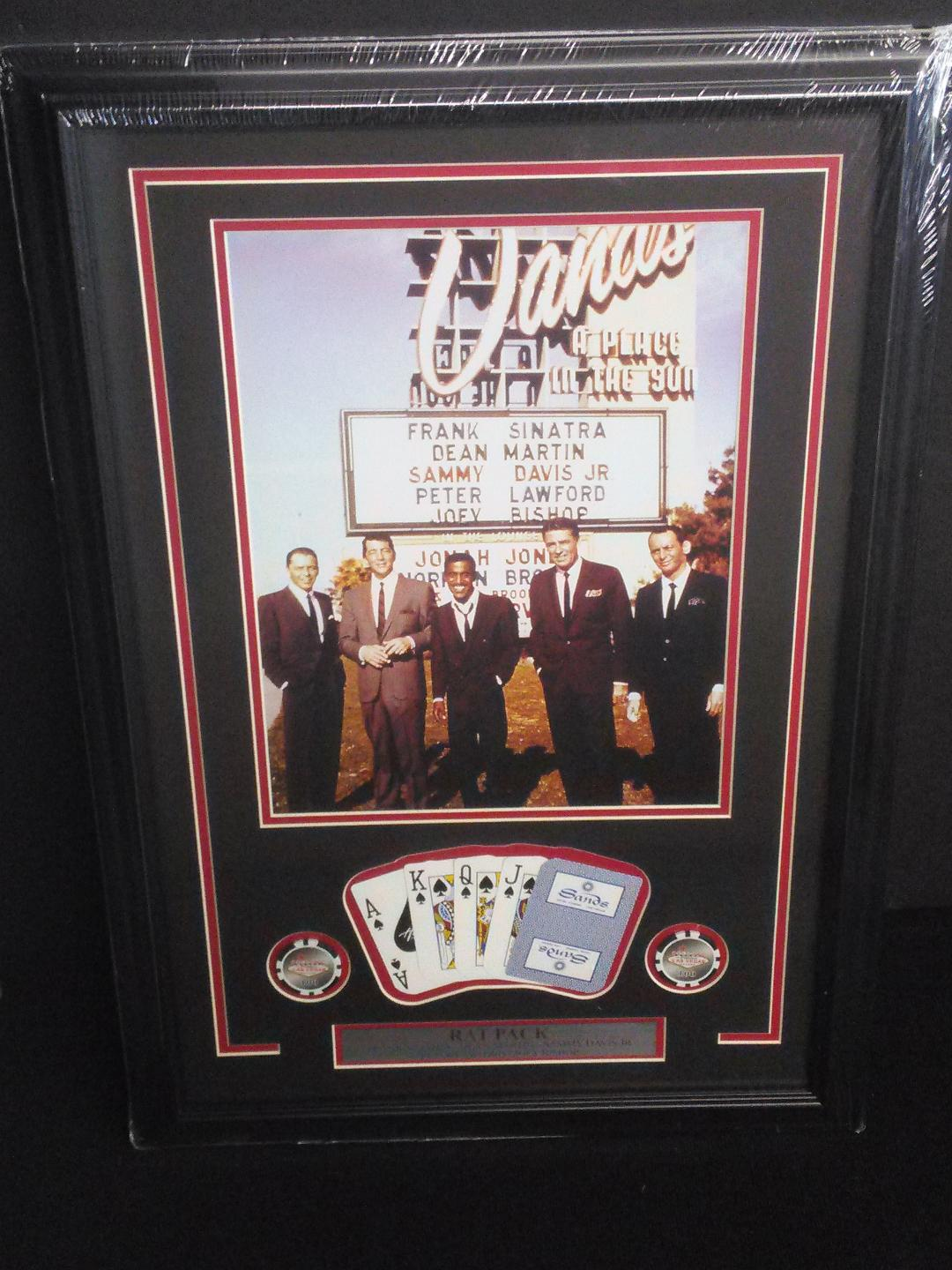 Rat Pack at the Sands Collage with Chips and Cards Framed