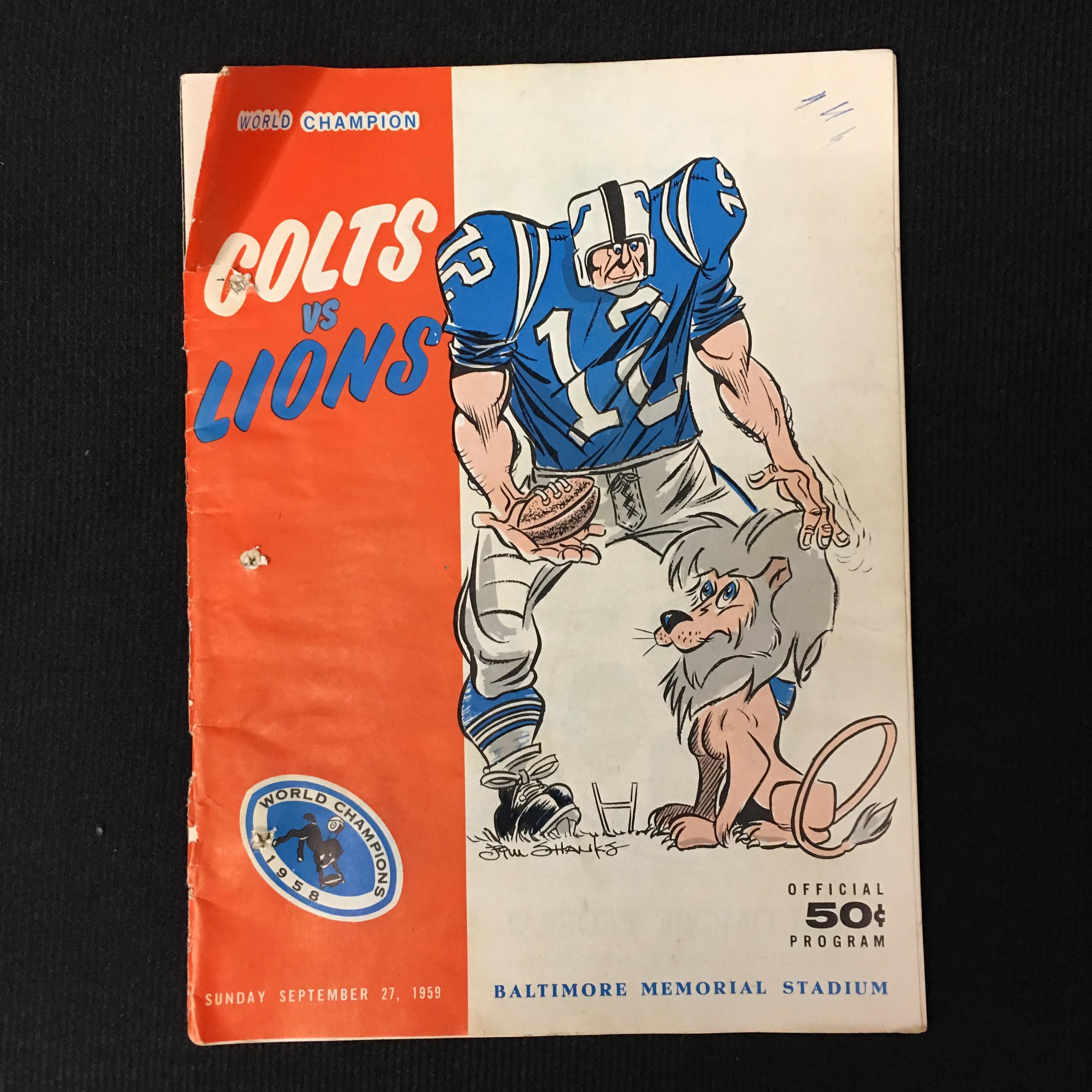 1959 Colts Vs. Lions program