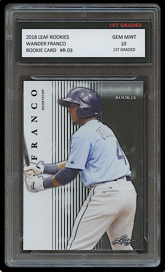 WANDER FRANCO 2018 LEAF ROOKIES 1ST GRADED 10 ROOKIE CARD RC TAMPA BAY RAYS