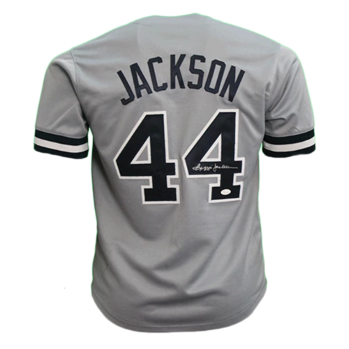 "Reggie Jackson Autographed Throwback ""Mr. October"" Baseball Jersey Grey (JSA)"