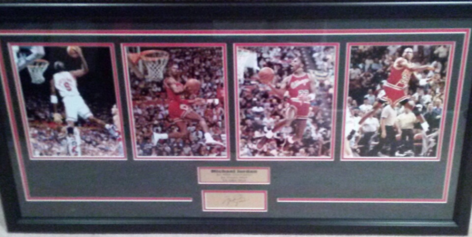 Michael Jordan Career Moments collage w/engraved signature