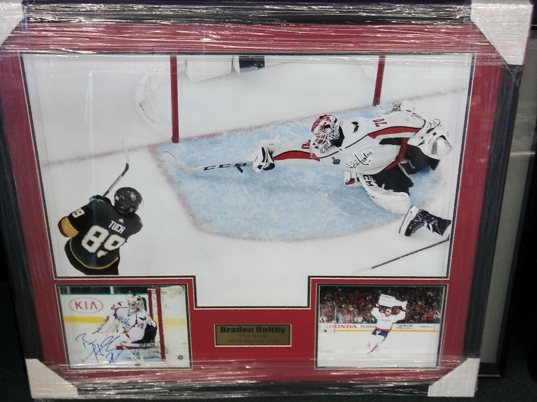 "Braden Holtby ""The Save"" signed  Collage 31X35"