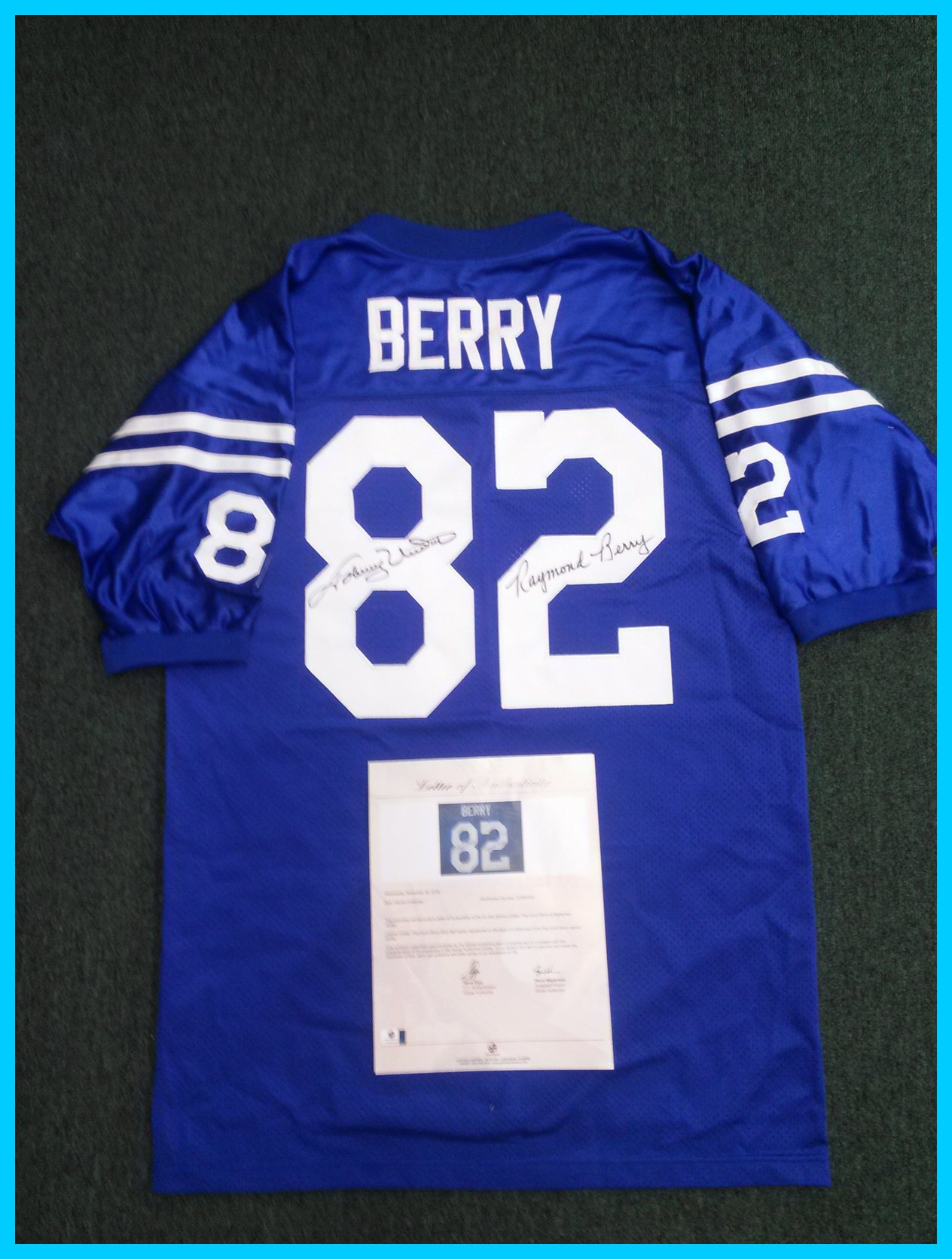Johnny Unitas and Raymond Berry mutli-signed Raymond Berry jersey (GA)