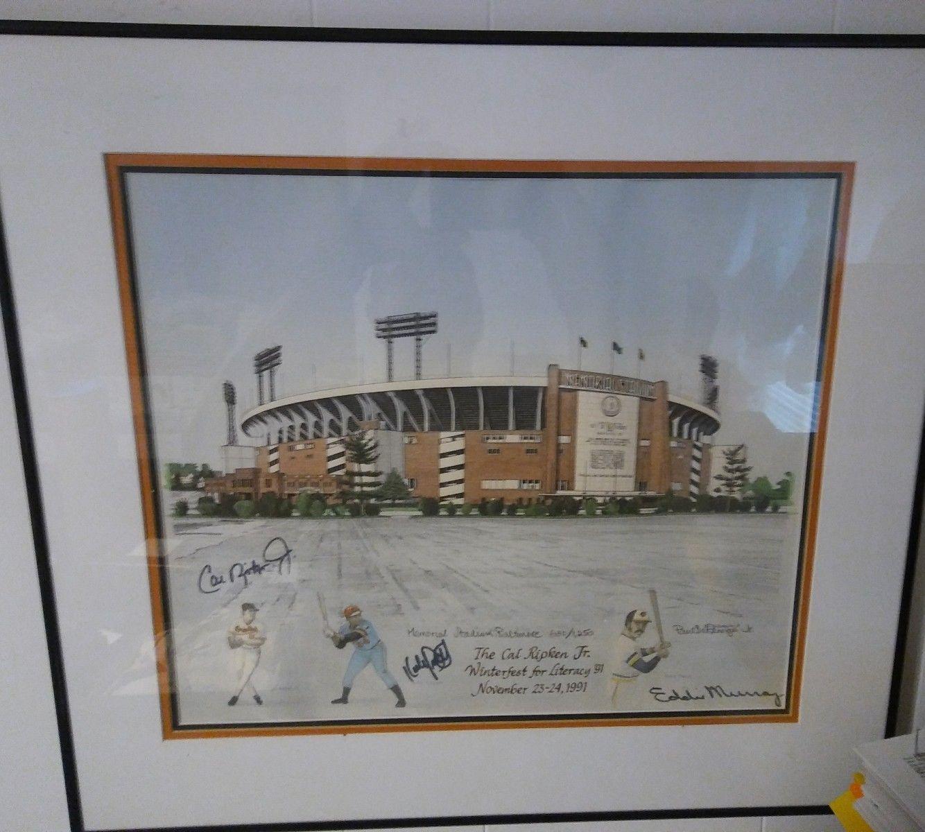 PAUL DeREMIGIS Memorial Stadium print signed by Eddie Murray, Kirby Puckett and Cal Ripken, Jr.