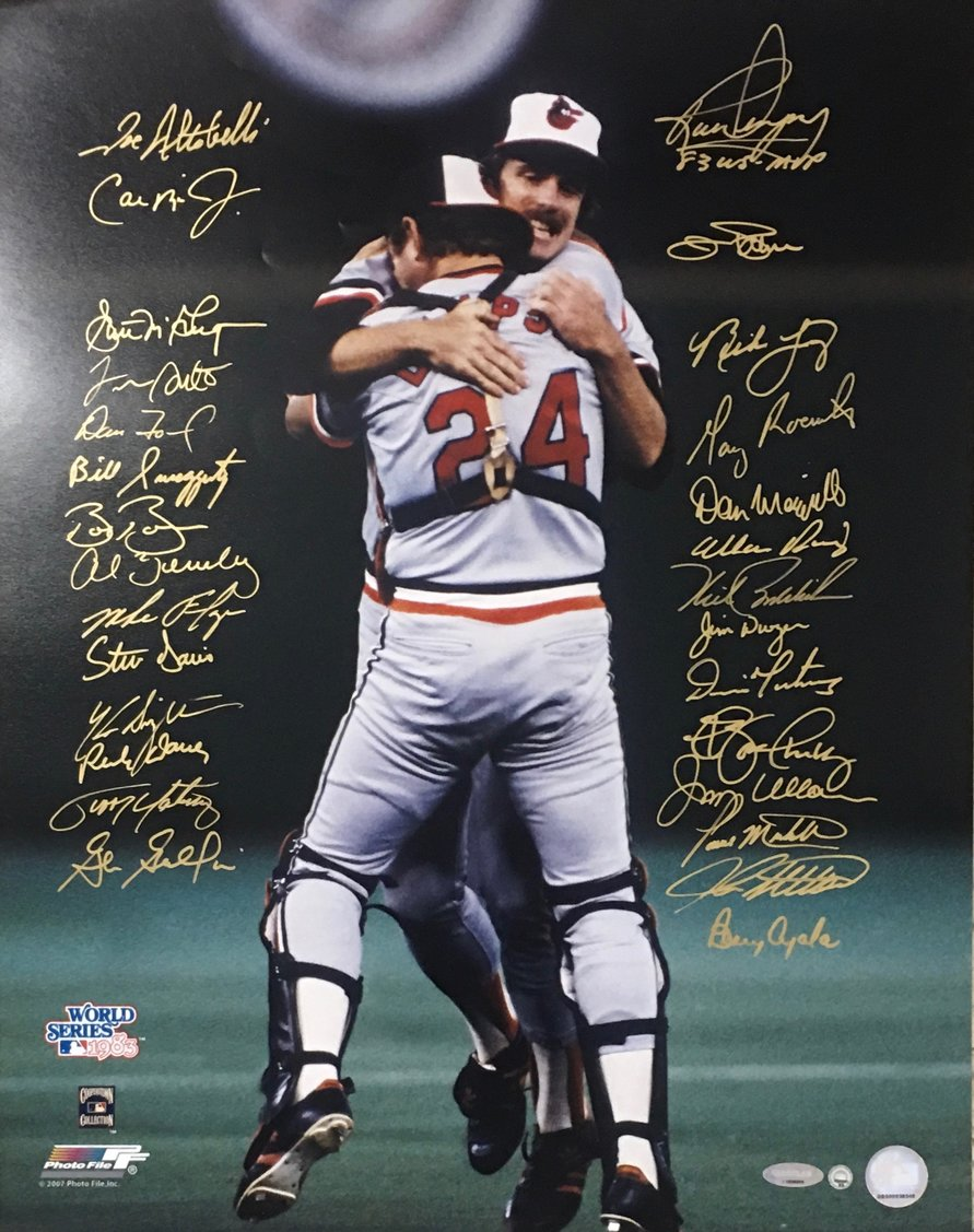 "1983 World Champions Team signed 16x20 ""Last Out"""