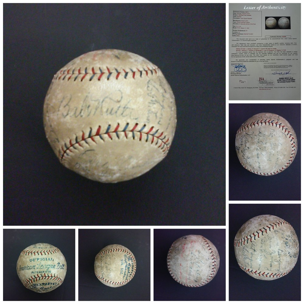 1930 NEW YORK YANKEES TEAM SIGNED BASEBALL (JSA)