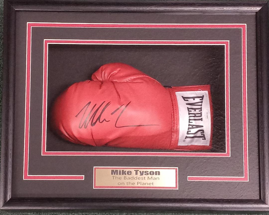 MIKE TYSON SIGNED GLOVE CUSTOM SHADOWBOX