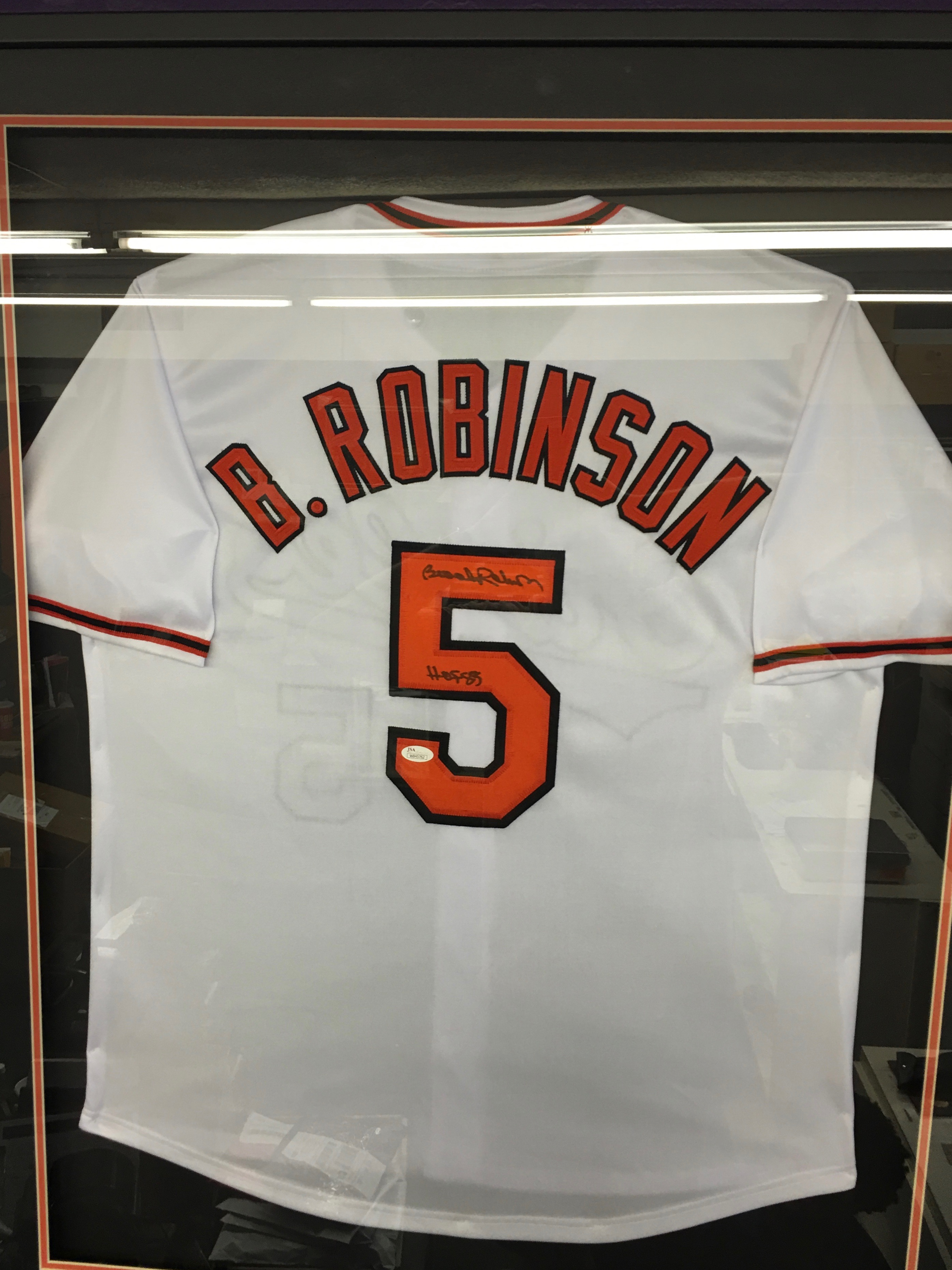 Brooks Robinson signed and Framed Jersey inscribed HOF85 (JSA)