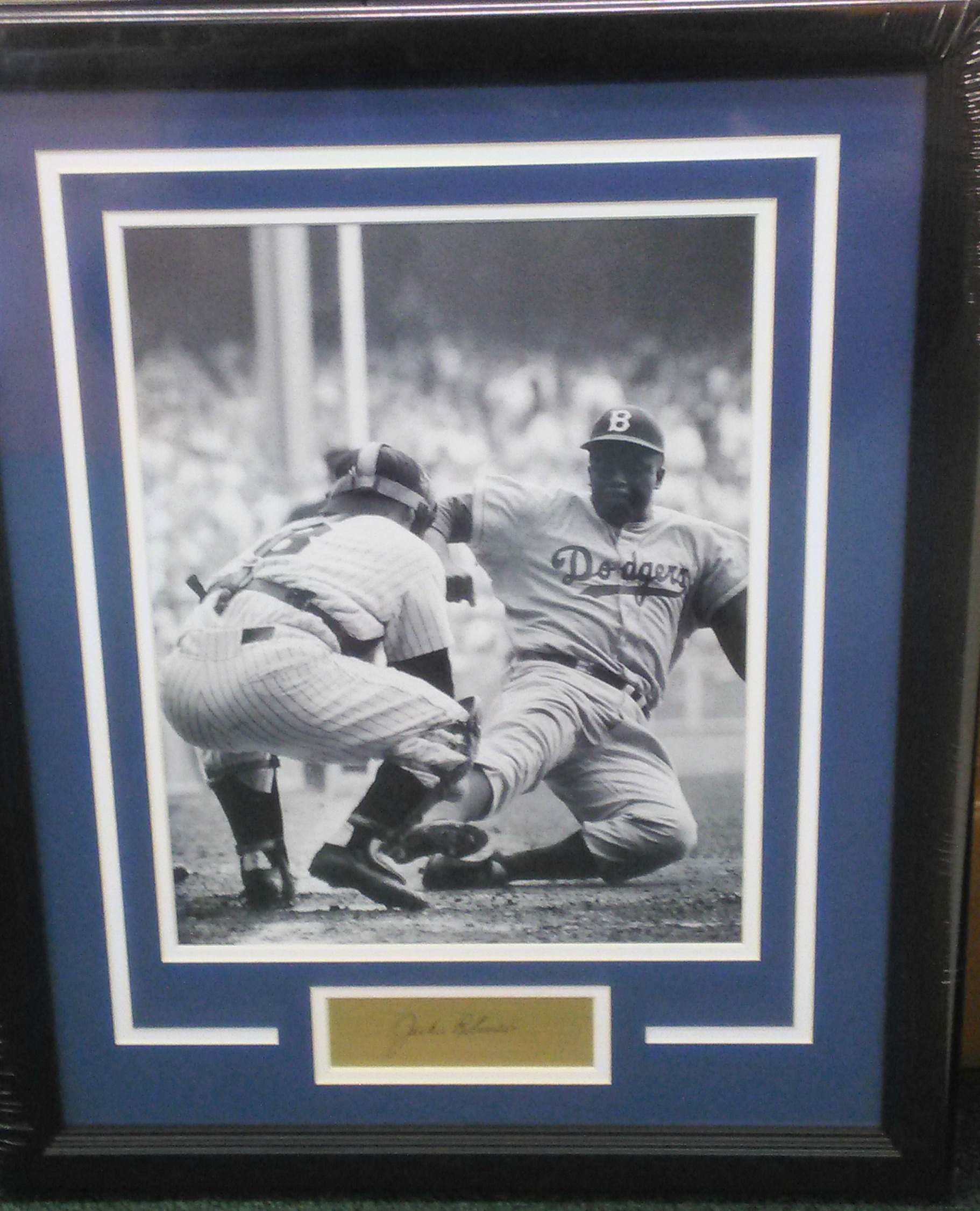 Jackie Robinson custom framed photo w/ engraved signature plate
