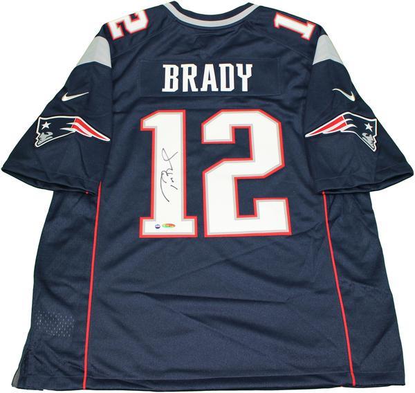 Tom Brady Signed New England Patriots Blue Nike Twill Jersey