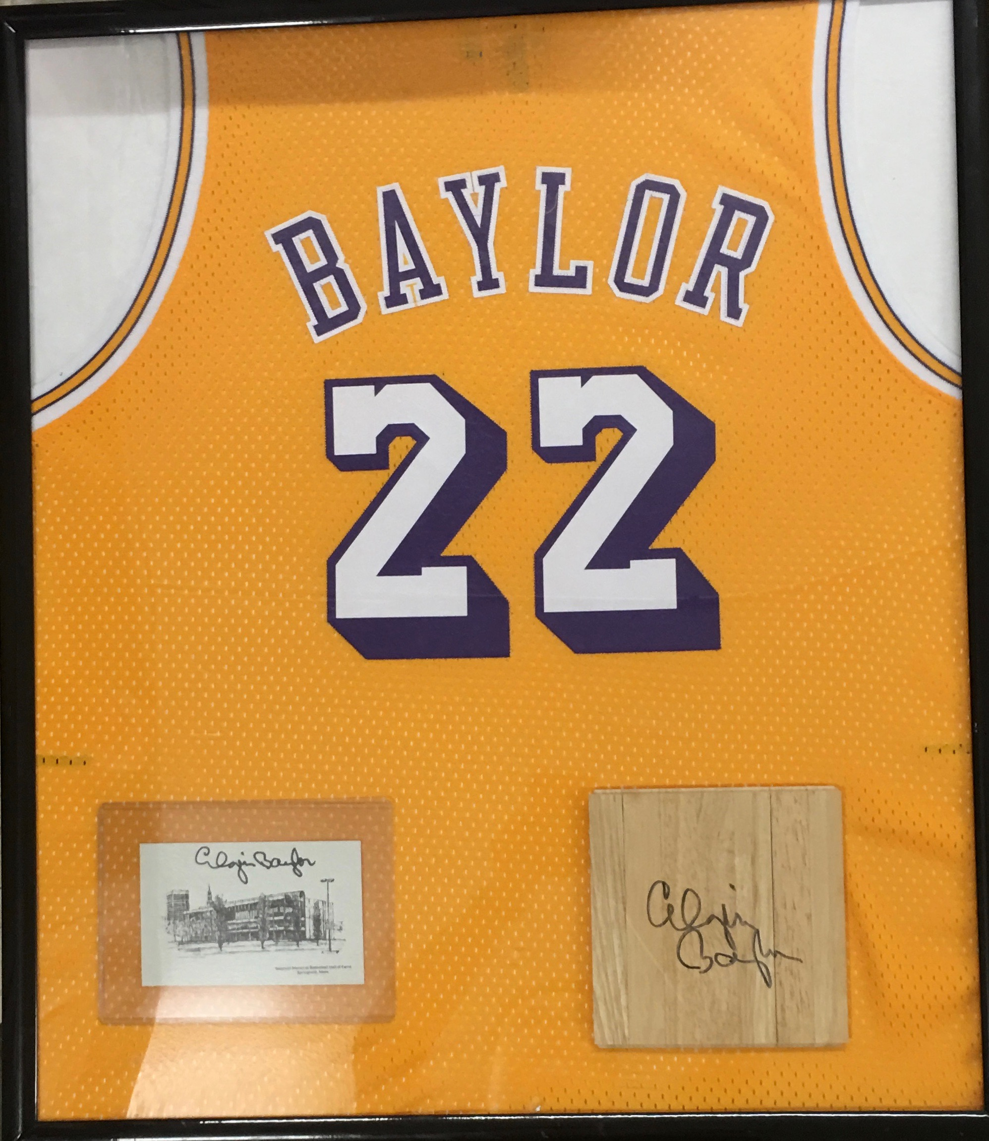 Elgin Baylor signed floorboard
