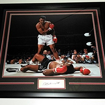 Muhammad Ali custom framed photo w/ engraved signature plate