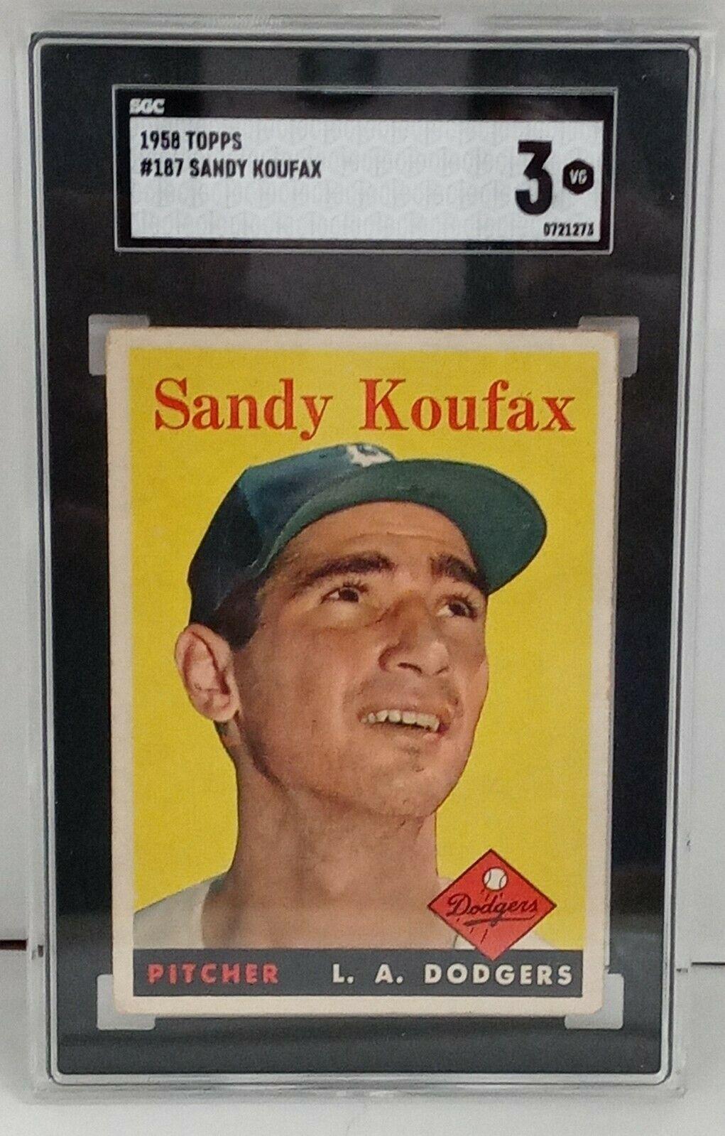 1958 Topps Sandy Koufax #187 SGC 3 Brooklyn Dodgers LA HOF