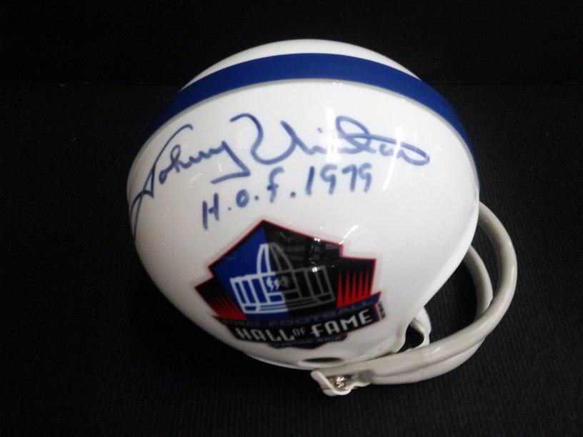 Johnny Unitas signed NFL Hall of Fame mini helmet (GAI)