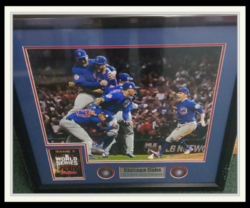 CHICAGO CUBS WORLD SERIES CHAMPS 16X20 W/ GAME 7 REPLICA TICKET