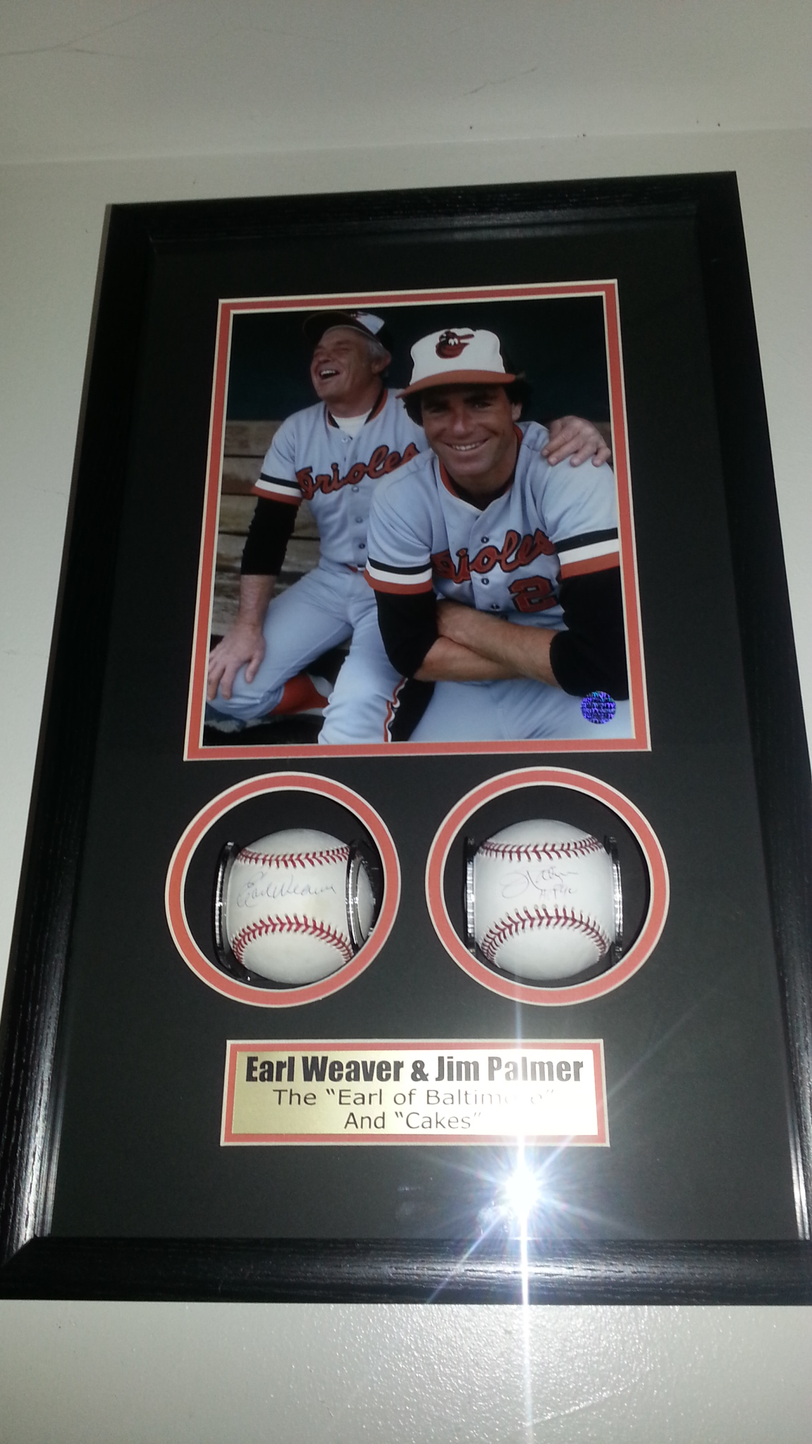 Earl Weaver & Jim Palmer signed baseballs shadowboxed