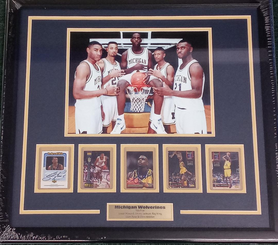 MICHIGAN WOLVERINES FAB 5 SIGNED CARD COLLAGE