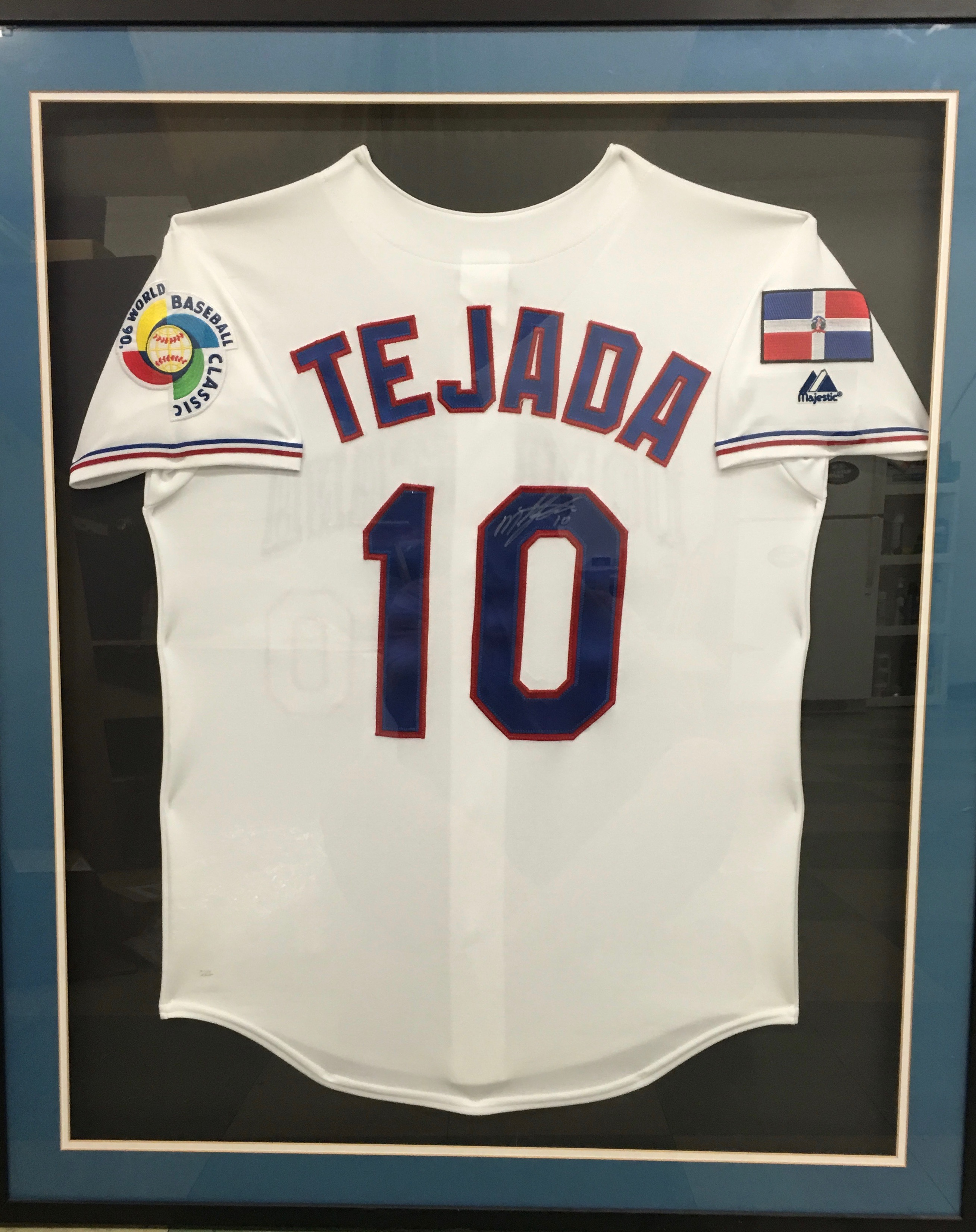 Miguel Tejada Signed and Framed Commerative 2006WBC Jersey