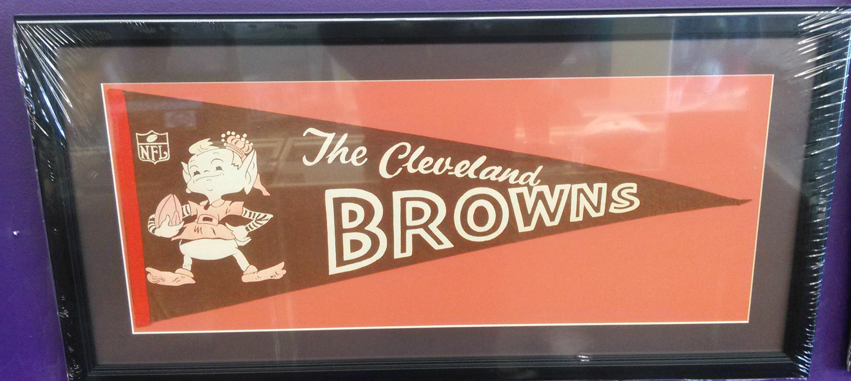 Cleveland Browns vintage pennant (custom matted & framed)