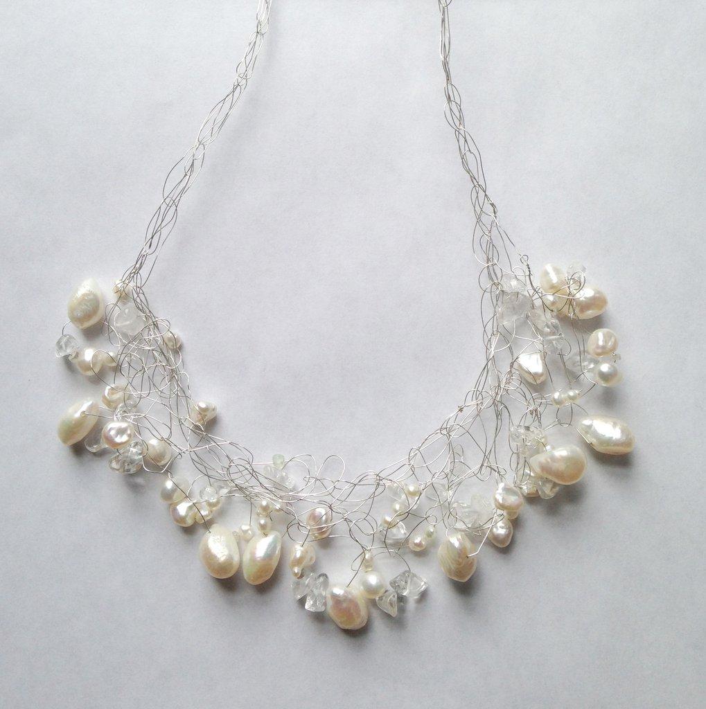 Susan Freda |  Silver Wire & Pearl Ruffle Necklace