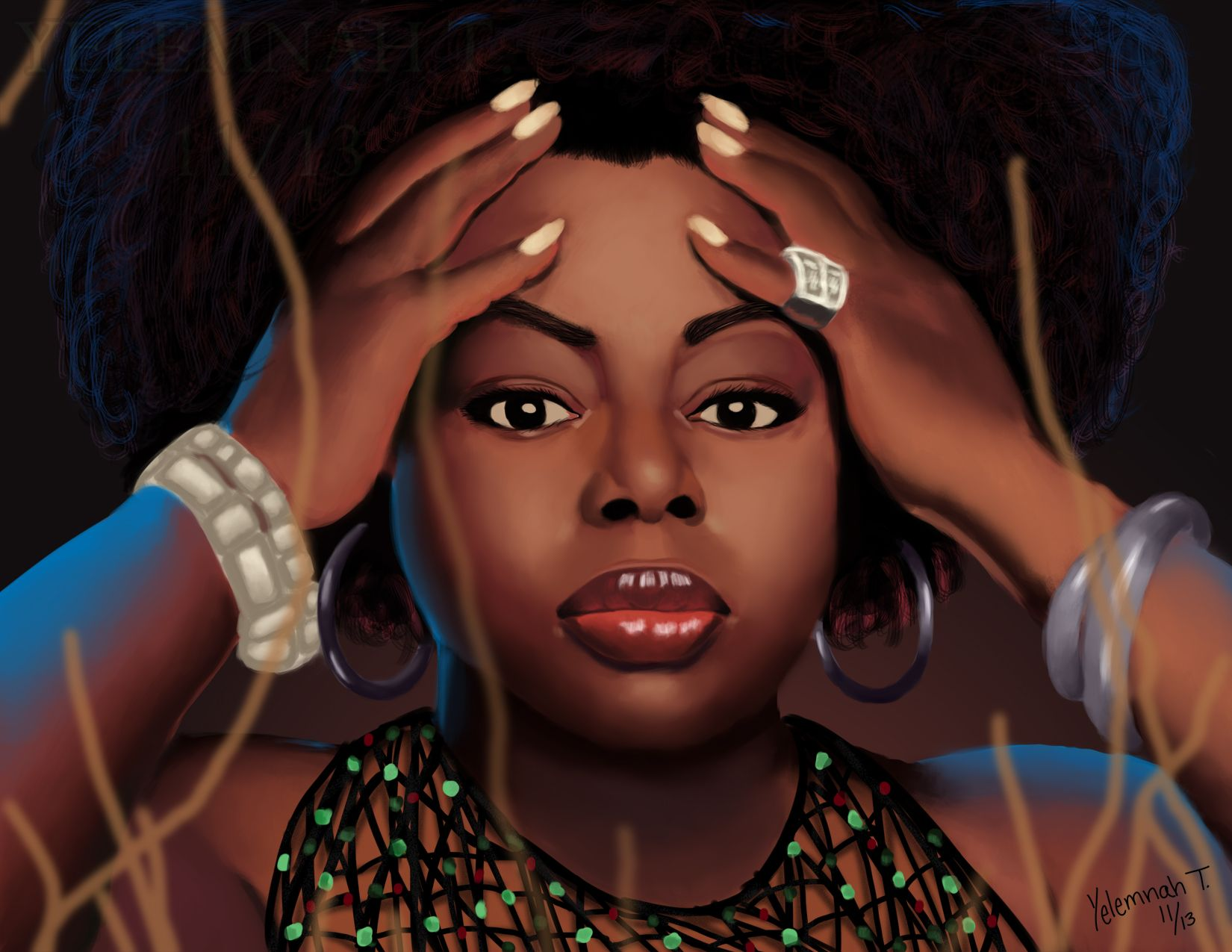 Angie Stone by Yelemanh Tessema, Digital 28 x 22 in., 2013