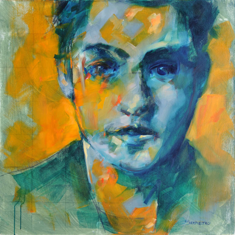 Study of portrait (orange and green)