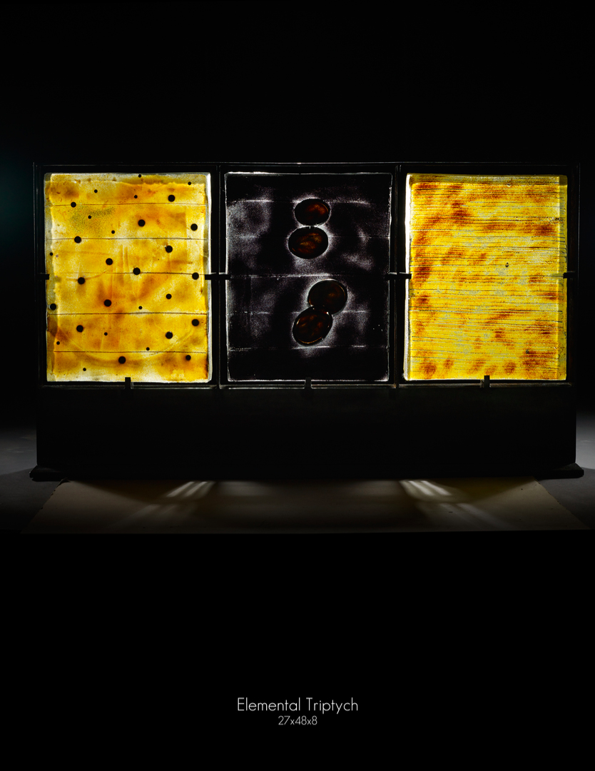 Marlene Rose   Elemental Triptych   Sandcast glass