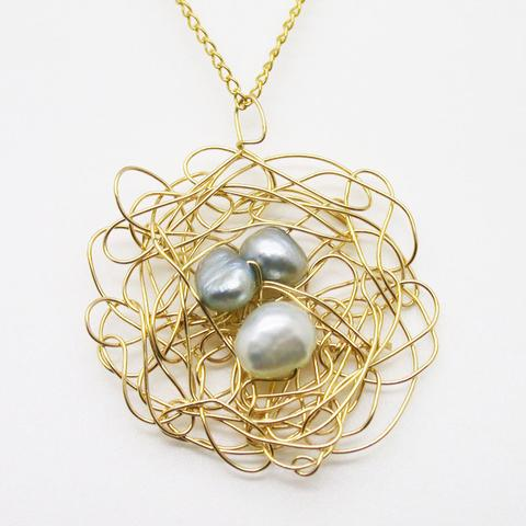 Susan Freda Collection | Gold Nest Pendant with Purple Pearls