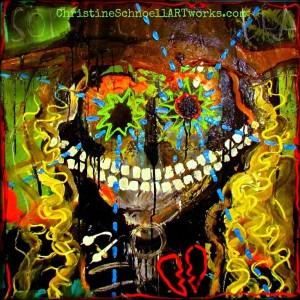 "Christine Schnoell,""She grins like a Cheshire cat""... /37.4 x 37.4 in, acrylics, pigments, pastels on canvas"