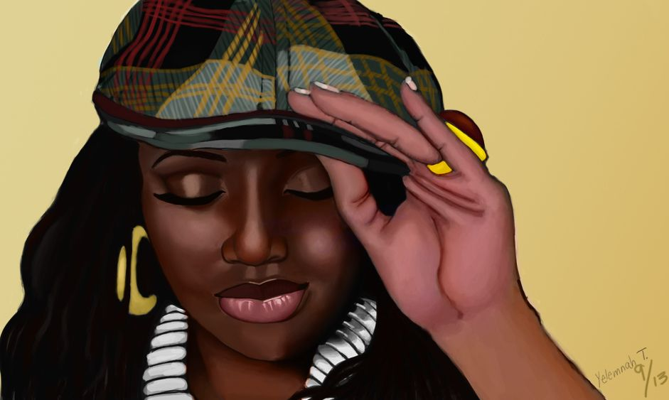 Lalah Hathaway by Yelemnah Tessema Digital 35 x 23 in., 2013