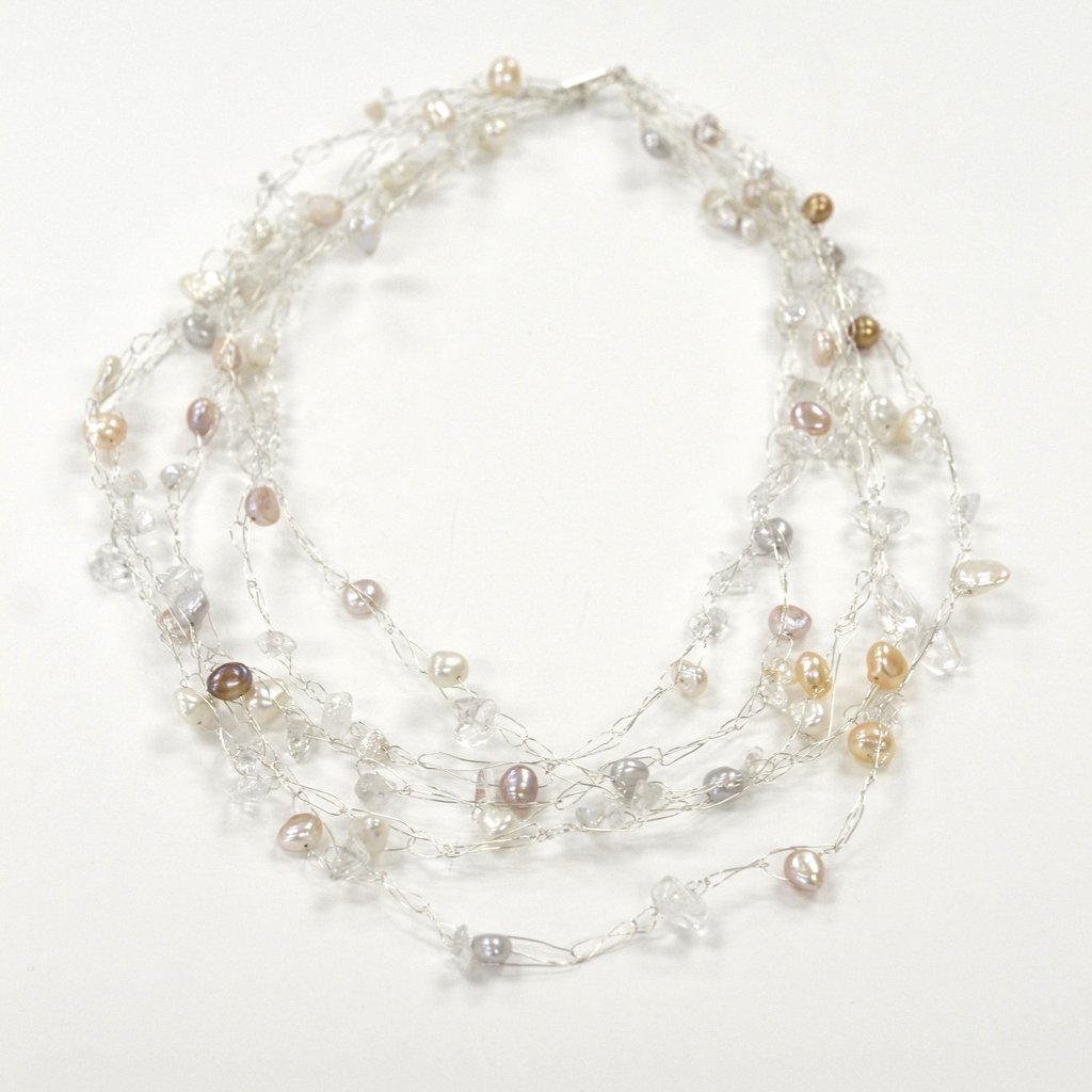 Susan Freda | Graduated Cloud Necklace with Off-white and Warm-Toned Pearls and Quartz