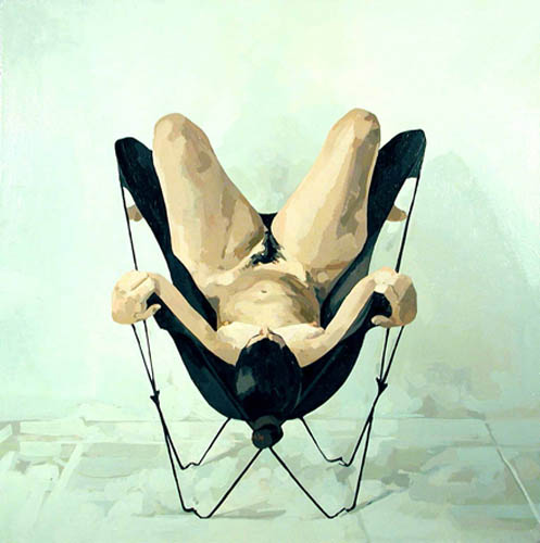 Nude in Butterfly Chair with Legs Ups